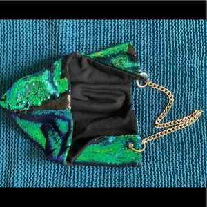 Accessories - Sequin rave festival hood with gold chain